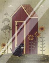 Outhouse with Cat art print poster with laminate