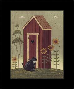 Outhouse with Cat art print poster with simple frame