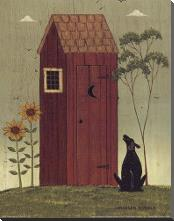 Outhouse with Dog art print poster with block mounting