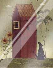 Outhouse with Dog art print poster with laminate