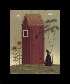 Outhouse with Dog art print poster with simple frame