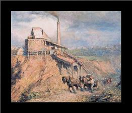 The old stone crusher (The quarry) art print poster with simple frame