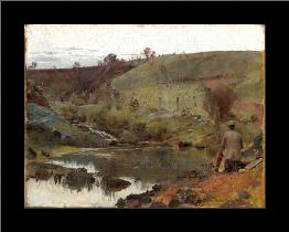 A quiet day on Darebin Creek art print poster with simple frame