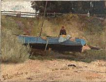 Boat on beach Queenscliff art print poster transferred to canvas