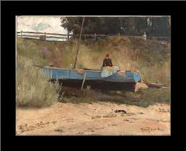 Boat on beach Queenscliff art print poster with simple frame