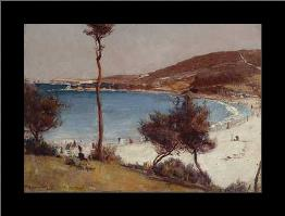 Holiday sketch at Coogee art print poster with simple frame