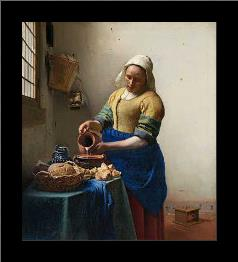 The Milkmaid art print poster with simple frame