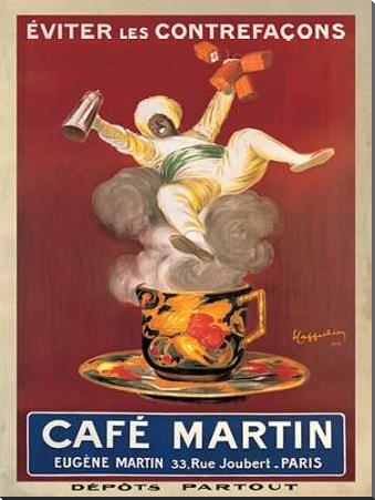 Cafe Martin-1921 art print poster with block mounting