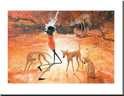 Lightning Girl With Dingoes art print poster with block mounting