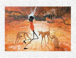 Lightning Girl With Dingoes art print poster transferred to canvas