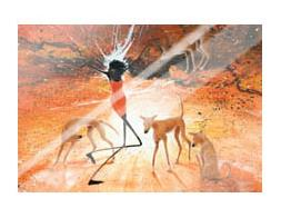 Lightning Girl With Dingoes art print poster with laminate