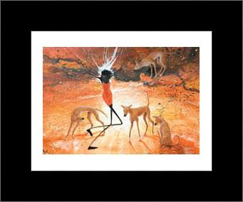 Lightning Girl With Dingoes art print poster with simple frame
