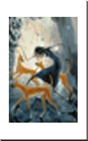 Desert Dancer With Dingoes art print poster with block mounting