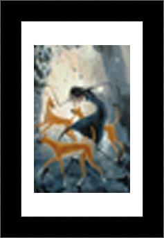Desert Dancer With Dingoes art print poster with simple frame