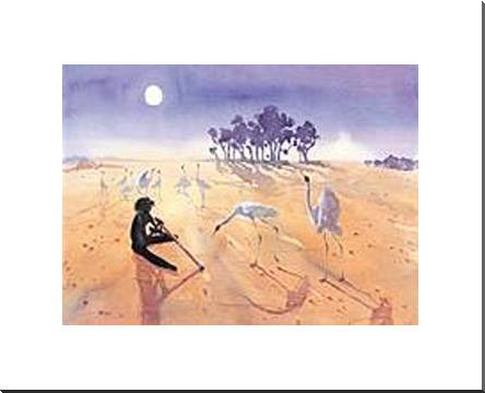 Didgeridoo Player art print poster with block mounting
