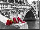 Bunch of red roses and red high heel shoes, Rialto Bridge, Venice, Italy art print poster with block mounting