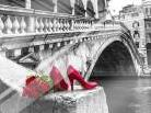 Bunch of red roses and red high heel shoes, Rialto Bridge, Venice, Italy art print poster with laminate