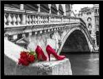 Bunch of red roses and red high heel shoes, Rialto Bridge, Venice, Italy art print poster with simple frame