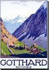Gotthard / Schweiz art print poster with block mounting