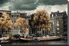 Amsterdam Autumn Colors art print poster with block mounting