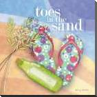 Toes in the Sand art print poster with block mounting
