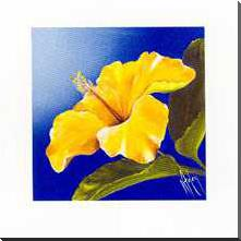 Golden Sunset - Hibiscus art print poster with block mounting