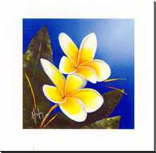 Frangipani Bouquet art print poster with block mounting