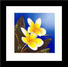 Frangipani Bouquet art print poster with simple frame