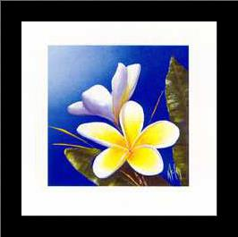 Frangipani Scent art print poster with simple frame