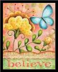 Believe Butterfly art print poster with simple frame