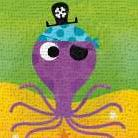 Pirate Octopus art print poster transferred to canvas