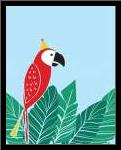 Tropical Bird I art print poster with simple frame