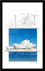 (I) Opera House art print poster with simple frame