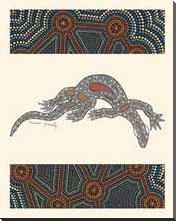 Goanna art print poster with block mounting