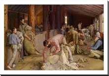 Shearing the Rams 1890 art print poster with block mounting