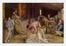 Shearing the Rams 1890 art print poster transferred to canvas