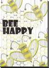 Bee Happy art print poster with block mounting