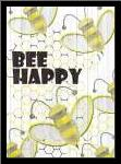 Bee Happy art print poster with simple frame