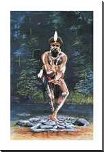 Tjapukai Dancer art print poster with block mounting
