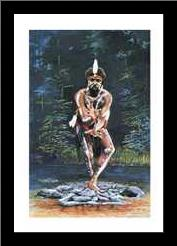 Tjapukai Dancer art print poster with simple frame
