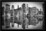 Abstract Skyline BW art print poster with simple frame