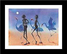 Desert Woman and Piccaninny art print poster with simple frame