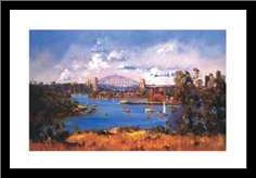Sydney Harbour art print poster with simple frame