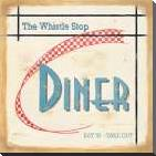 Whistle Stop Diner art print poster with block mounting