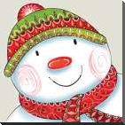 Happy Snowman art print poster with block mounting