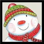 Happy Snowman art print poster with simple frame