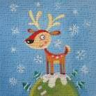 Mountain Top Reindeer art print poster transferred to canvas