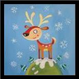 Mountain Top Reindeer art print poster with simple frame