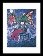 Blue Violinist art print poster with simple frame
