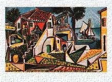 Paysage Mediterraneen art print poster transferred to canvas